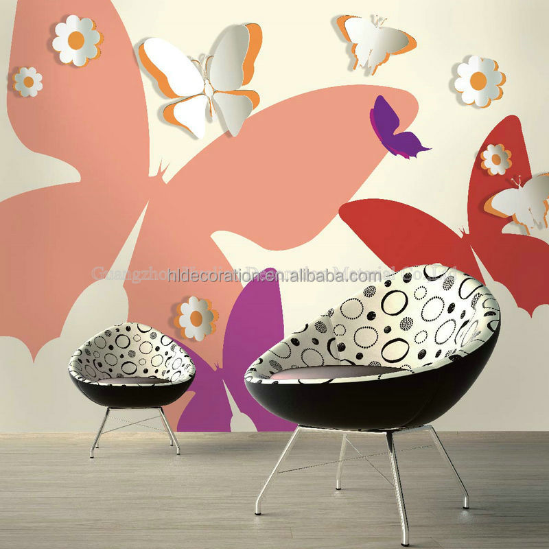 AC144 anime butterfly design 3d wall decoration mural wallpaper pvc