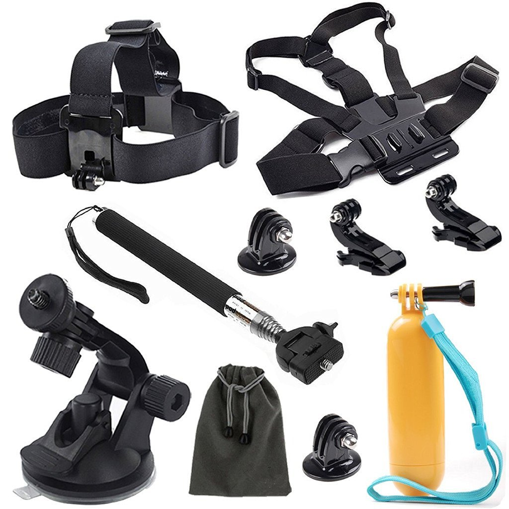 KINGCOOL(TM) 8in1 Accessories Kit for Gopro Hero4 Hero HD 3+/3/2/1 Camera Head Belt Strap Mount+ Chest Belt Strap Mount+ Extendable Handle Monopod + Car Suction Cup Mount Holder + Floating Handle Grip + 2 PCS Tripod Mount Adapter+2 PCS Gopro Surface J-Hook+Pouch
