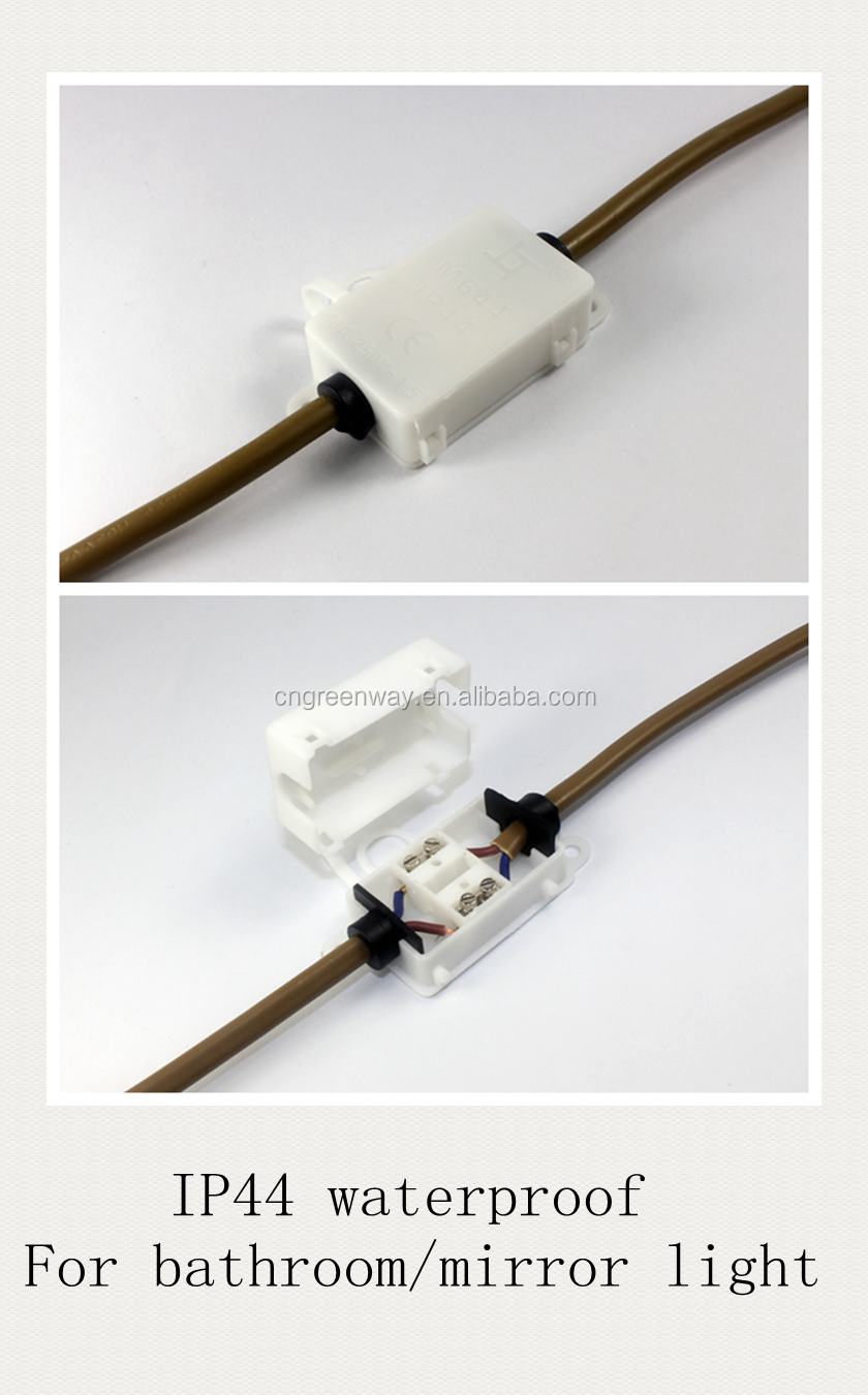hot sell 2 way 2/3pin small waterproof ip44 wire connector junction box with TUV