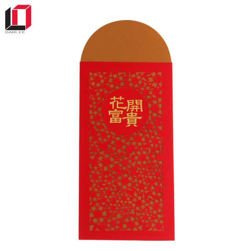 2018 Chinese new year hot foil stamping custom popular money red pocket envelope