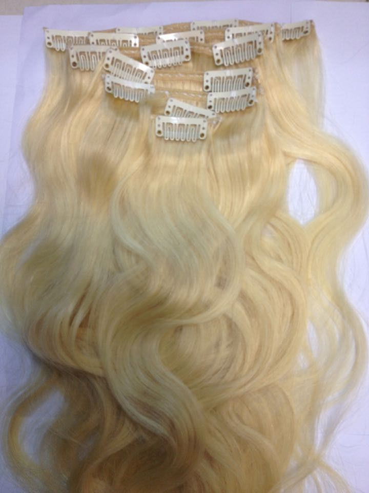 Dropshipping Double Drawn Weft Clip In Human Natural Hair Extensions Thick
