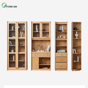 Wholesale OEM bookcase wooden bookshelf filing cabinet with glass door