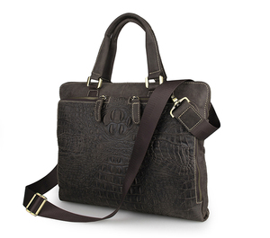 7294R Dark Brown Real Cow Leather Trend Crocodile Handbag Unique Design Laptop Briefcase for Men