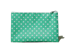 Green Polka Dots Zip Coin Purse Girls Cosmetic Pouch