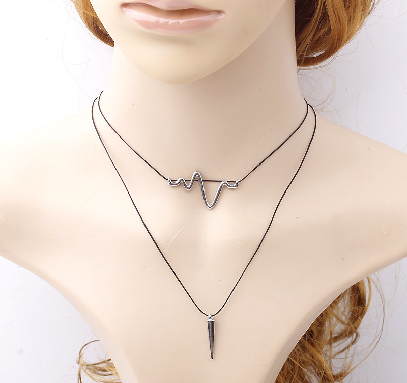 Fashion Minimalist Black Wax Cord Arrow Charm Necklaces Long Rope Pendant Choker Necklace For Women