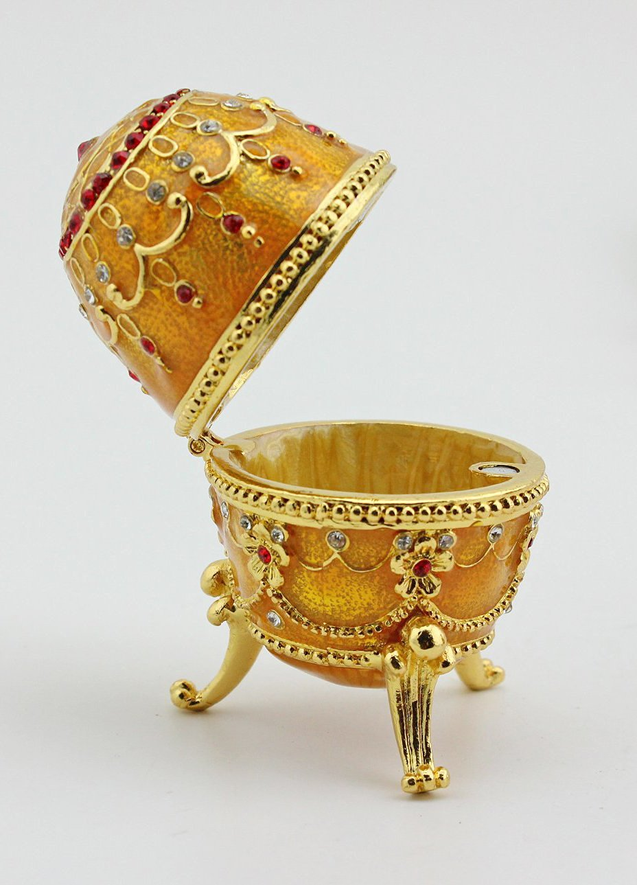 Easter Gifts Egg Faberge Trinket Box Jewelry Display Box Faberge Egg Box (Gold)