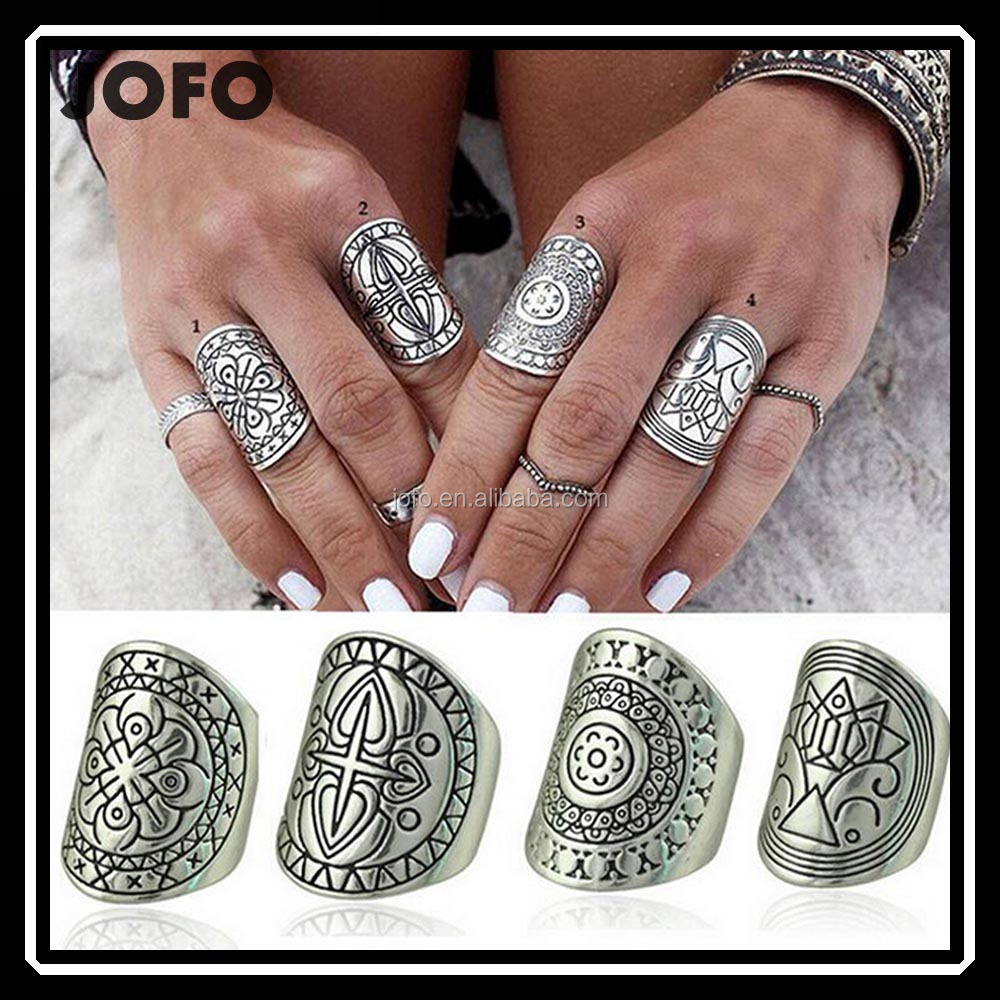 Antique Bohemian Long Finger Rings Hippie Blogger NEU Silber Vintage Retro