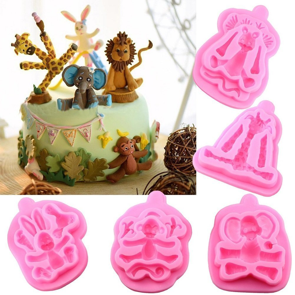 Sharlity 5 Pcs Animal 3d Silicone Molds Fondant Cake Decorating Supplies chocolate mold clay mold