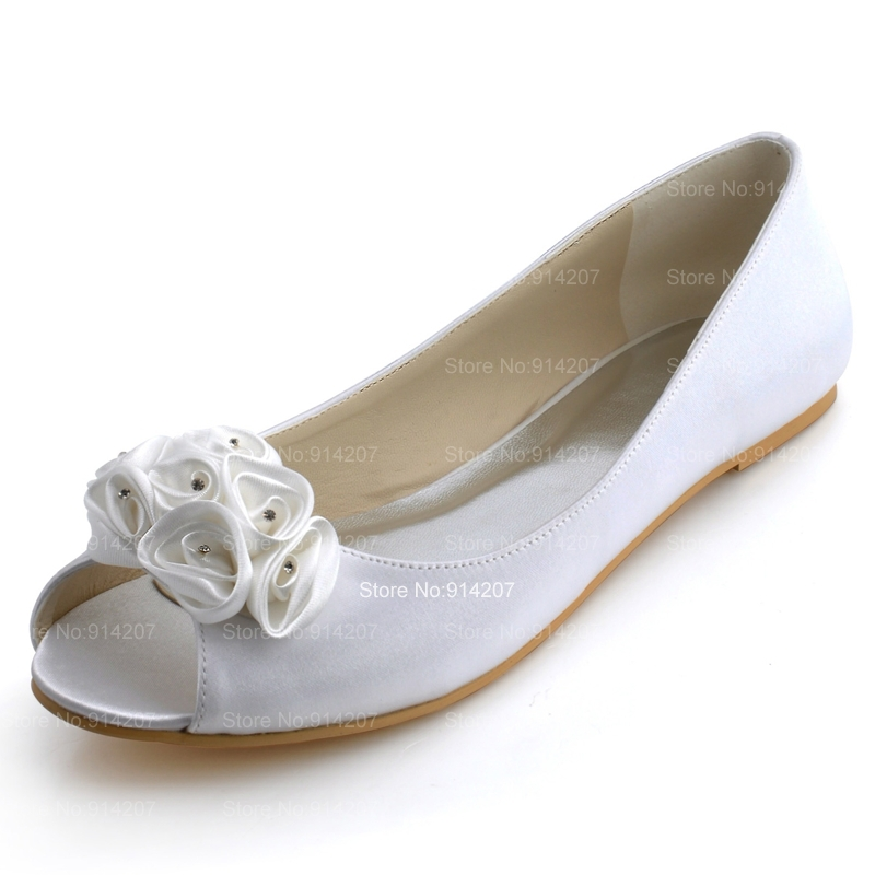 2390957a68d7 Get Quotations · 2014 High Quality Satin Upper Flat Peep Toes With Flower Women s  Wedding Bridal Shoes For Free