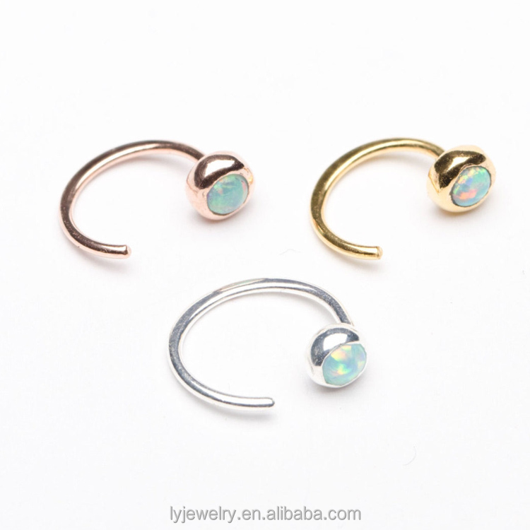 Sterling Silver Dainty Opal Hug Hoops Earring Gold Plated Open Earrings LYE0086