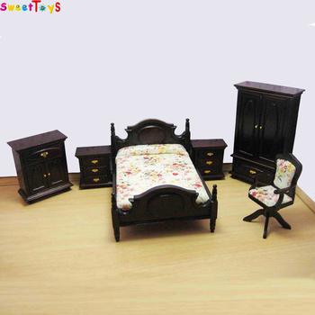 Wooden Doll House Bedroom Set Mini Furniture