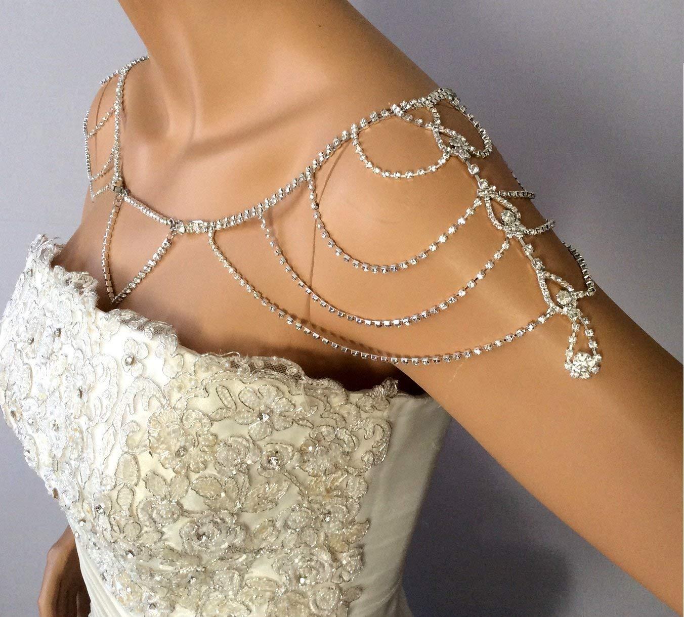 Shoulder Necklace Wedding Shoulder Jewelry Wedding Dress for Shoulder, Bridal Shoulder Necklace Body Accessory For Wedding