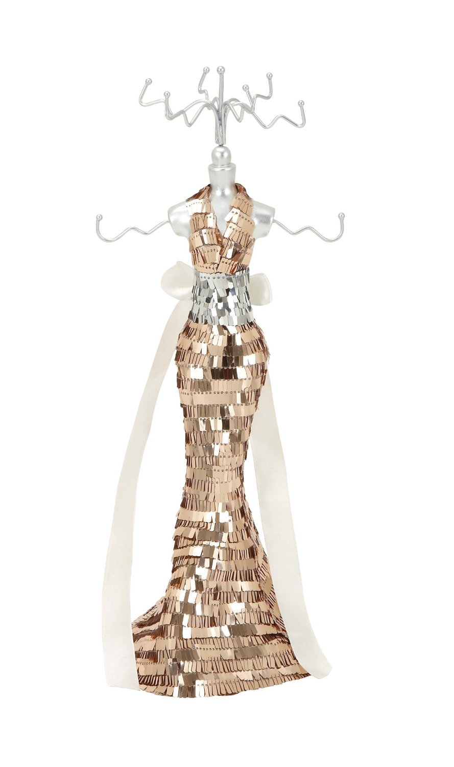 Harvey & Haley Jewelry Holder Brandishing a Gold and Silver Sequined Body