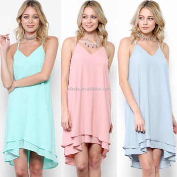 Clothes Women Dresses 100% POLYESTER SOLID WOVEN TIERED HEM SLIP Sexy Tropical Dresses