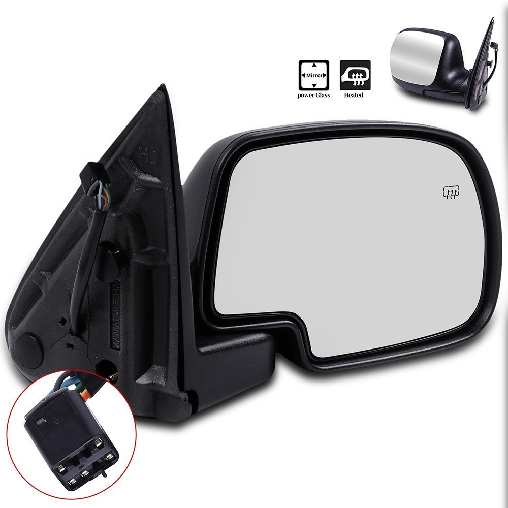 ECCPP Door Mirrors High Performance Passenger Side Mirror Replacement Right Side Mirror with Power Adjusted Heated Manual Folding for 1999-2002 Chevrolet Suburban Tahoe GMC Sierra Yukon XL Chrome