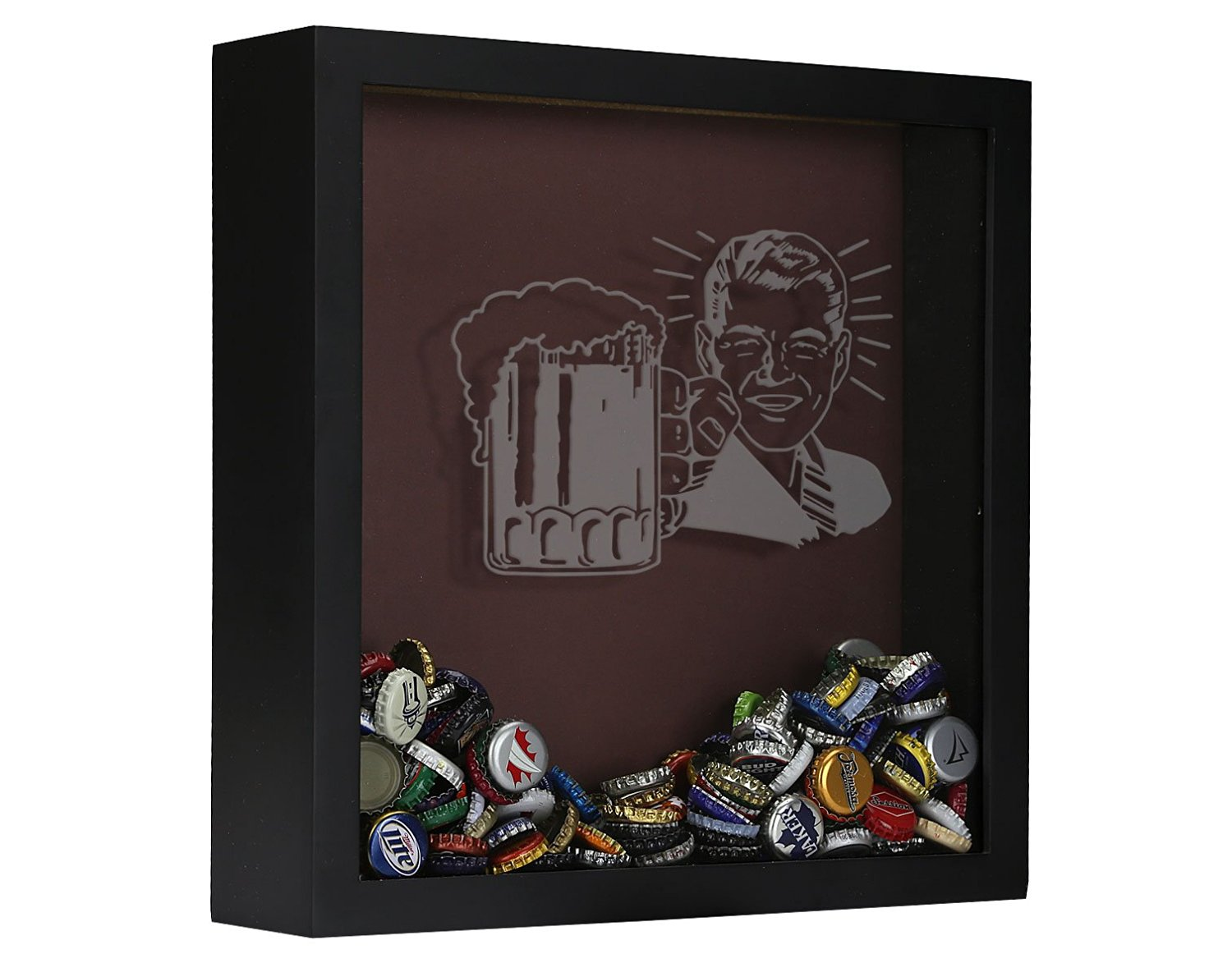 Beer Cap Shadow Box, Beer Cap Collector Shadow Box, Retro