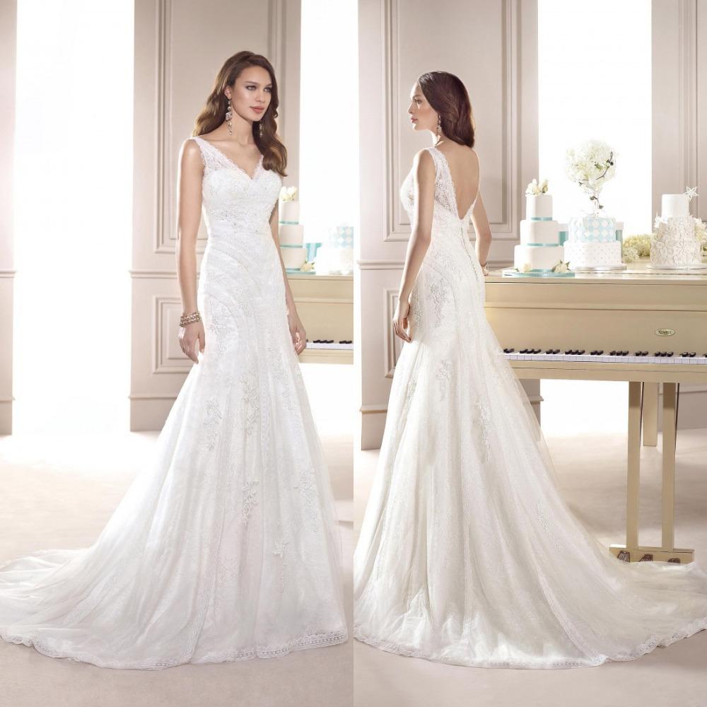 2015 New Elegant Full Long Sleeves Mermaid Wedding Dresses: Elegant Long V Neck Vintage Lace Wedding Dress Bridal Gown