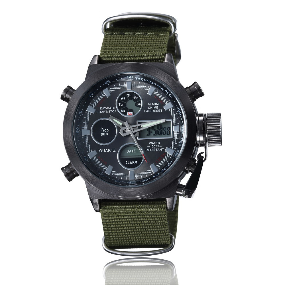 2019 New Arrival Sports Watch  Nylon Leather Band Watches Three Eyes Alarm Army High end Men Watch