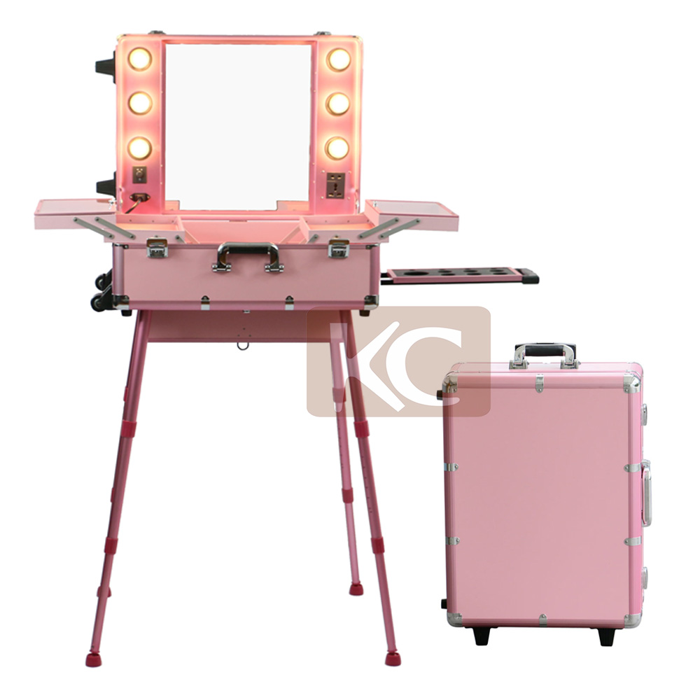 MOQ 1pc, Mobile Professional PINK Aluminum makeup case with lights / trolley aluminum lighted makeup train case with stands