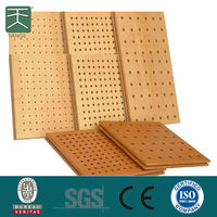 wooden perforated acoustic sound absorbing material panel for wall and ceiling