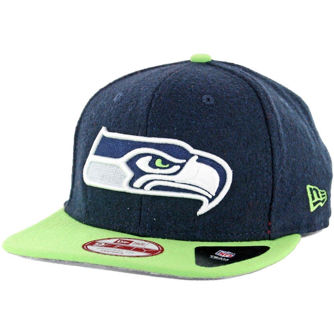 c99238bcb5a Get Quotations · New Era 9Fifty Seattle Seahawks Melt Motion Snapback Hat  (Navy Lime) Men s Cap