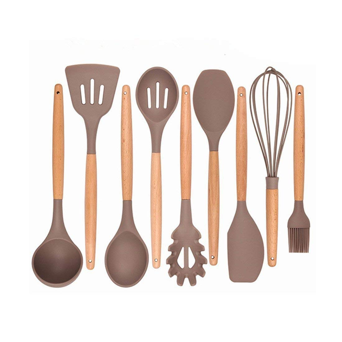 SODIAL Kitchen Utensils - Cooking Utensil - 9-piece Silicone Utensil Set Spatula Set with Beech Wood Handle - for Nonstick Pots Pans Utensil Set - Kitchen Tools and Gadgets (utensil set)
