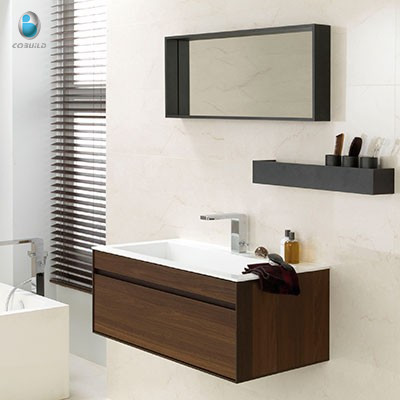 White Stone Resin Sink Sliding Door Bathroom Vanity With Wall Shelf