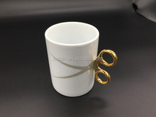 Creative cup ceramic scissors mug with Gold shear handle