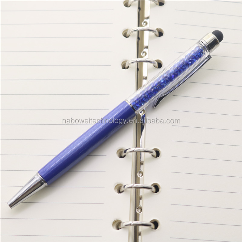 Promotional 2 in 1 capacitive multi function crystal ball pen touch screen stylus pen