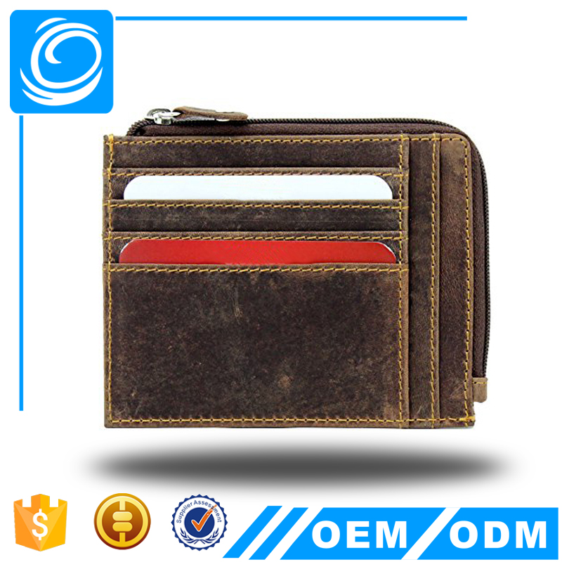 Mens RFID Bloking Vintage Distressed Hunter Brown Leather Credit Card Holder & Zip Around Coin Pocket Purse