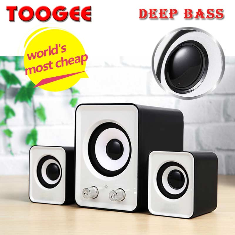 Factory price heavy bass 2.1 desktop computer speakers with blue led