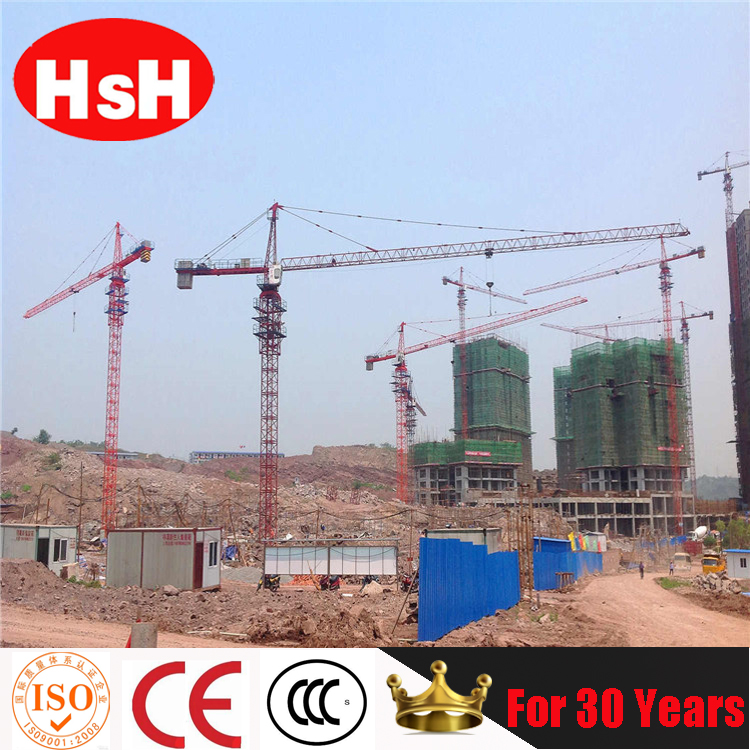 China Famous Brand HSH sell well in many countries tail-swing qtz80 tower crane qtz6010-6T tower crane on hot sale