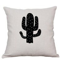 custom design cactus plant cotton linen printing cushion for decoration