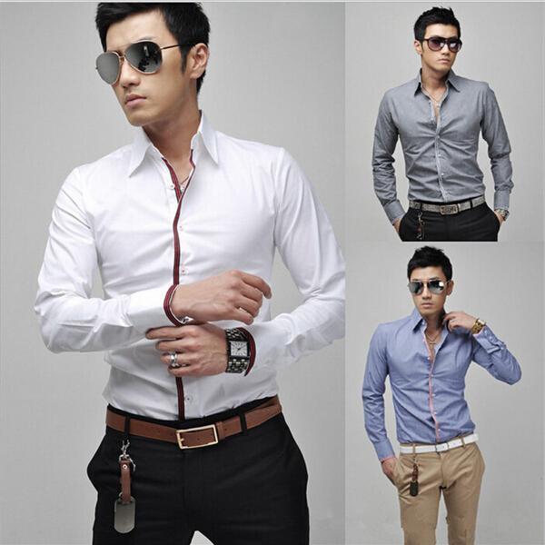 Мужчины в приталенный Fit рубашка бизнес свободного покроя блузка стильный длинный рукав рубашка с отложным вниз воротник мужчины в платье рубашки camisa masculina