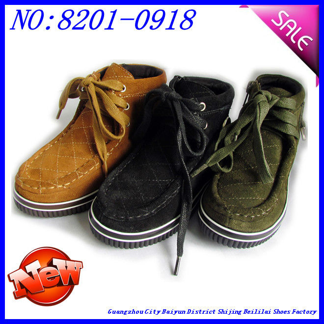 suede leather upper and cotton lining children shoes