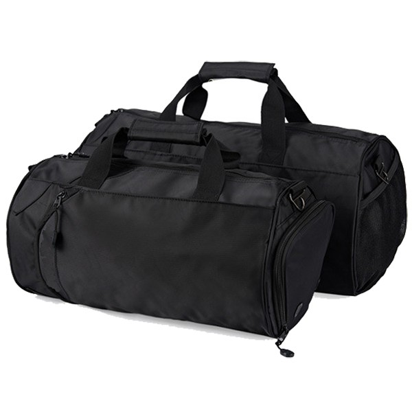 Newest large capacity black Polyester Waterproof OEM travel duffel bag with shoe pouch