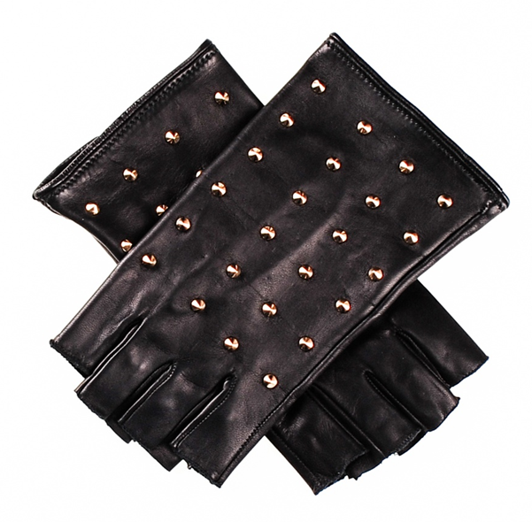 Ladies fingerless leather gloves silk lined leather gloves with rivet