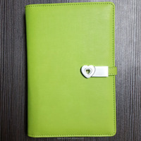green color PU leather A5 ring binder notebook with power bank and USB