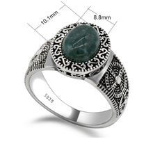 Wholesale 925 Sterling Silver Green Natural Jade Stone Men Women Rings,Vintage Retro Finger Ring for Women Men Fashion Jewelry