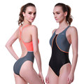 Women s Shaping Body One Piece Swimsuit Sports Swimwear Monokini Color Blocking Orange Grey and Black