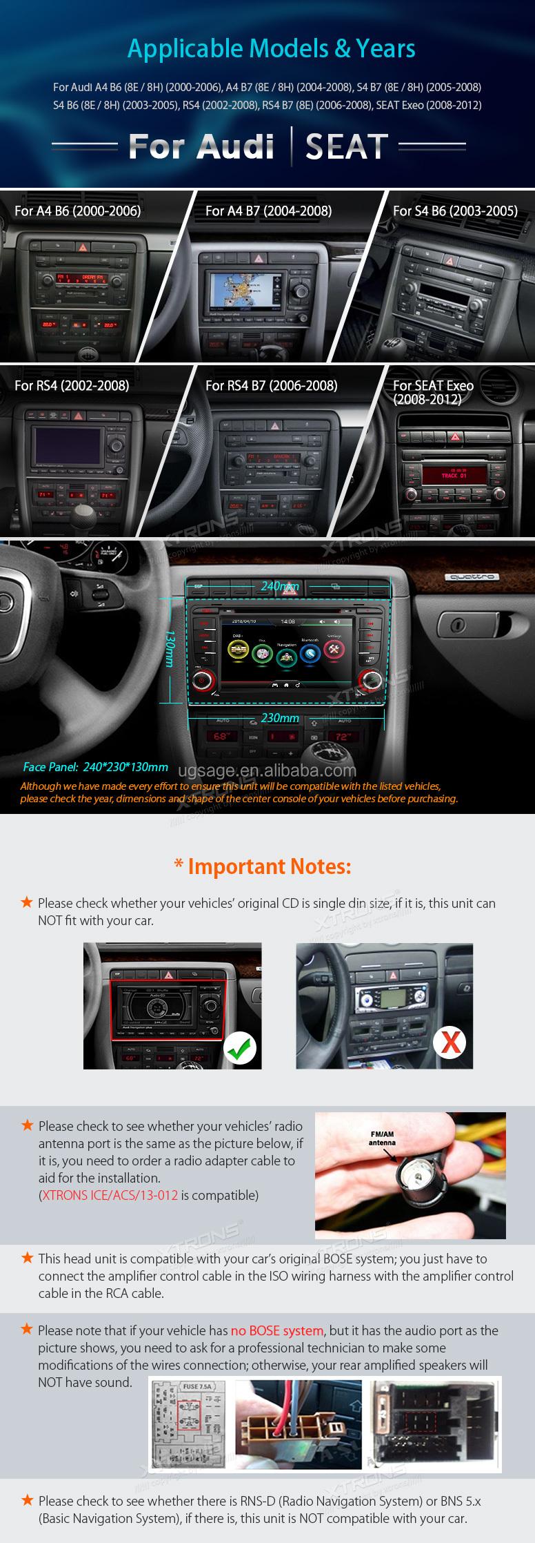 Xtrons Windows Ce 6 0 Steering Wheel Control Car Mp3/mp4 Radio Dvd Player  Gps Navigation For Audi A4 B6/b7 - Buy Car Dvd,Radio 2 Din,Multimedia Car