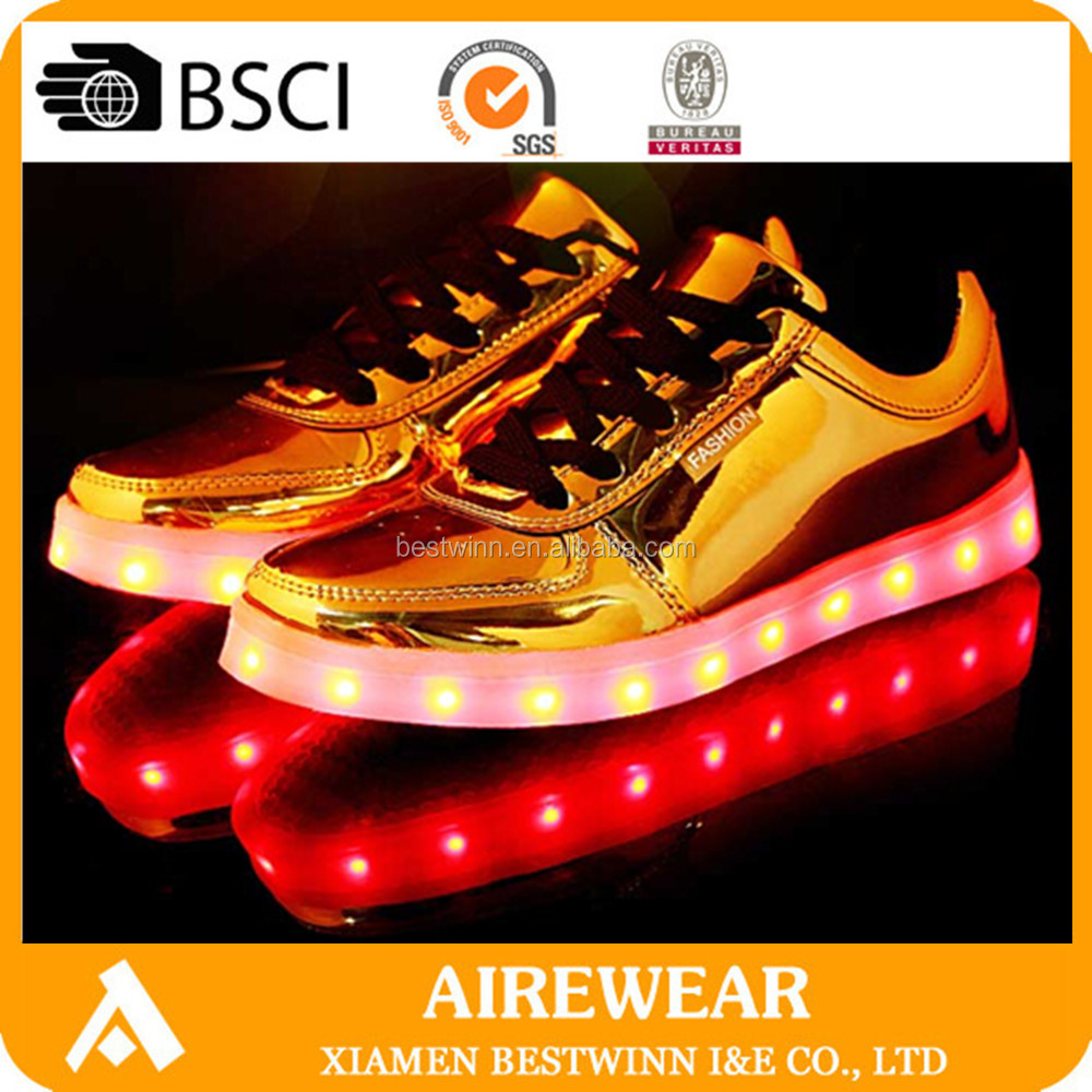 hot sale gold led shoes silver led shoes fashion adults light up shoes wholesale for retails