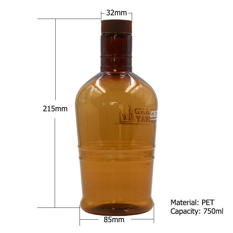 Empty Plastic Whiskey Bottle 750ml