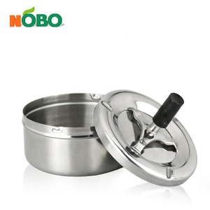 Factory Price Round Push Down Cigarette Ash Container Metal Custom Portable Cigar Ashtray with Wind-proof Tray