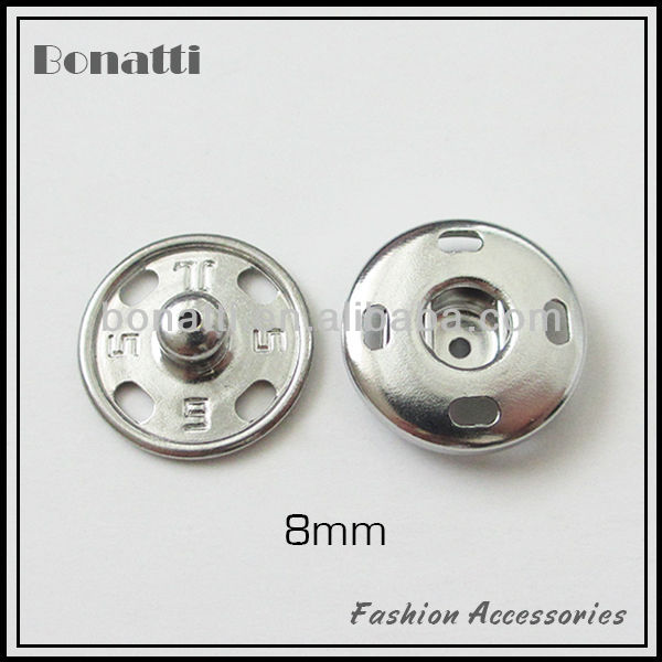 small size 8mm metal sew on snap button for kids clothes