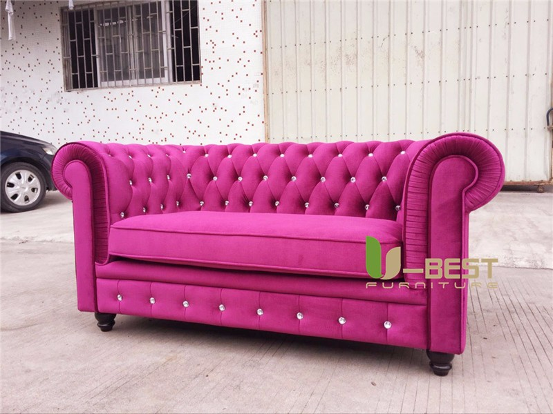 U Best High Quality Velvet Lyre Chesterfield Sofa Vintage Red Pink