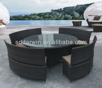 Charmant Outdoor Rattan Dining Round Table And Wicker Chairs Set DW C012
