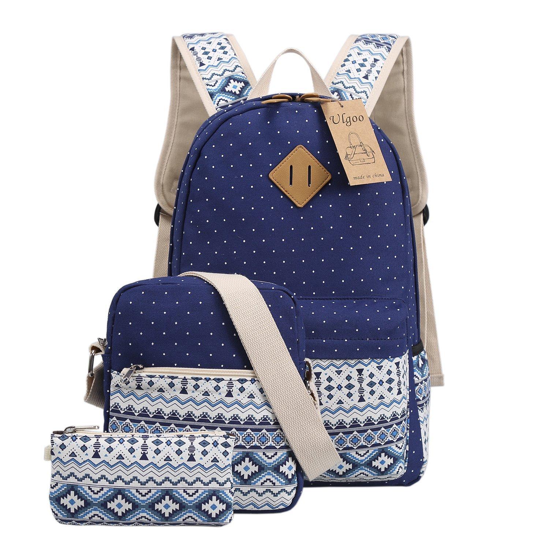 a65905a4f128 Get Quotations · Ulgoo School Backpacks Canvas Teen Girls Backpacks Casual  Shoulder bags