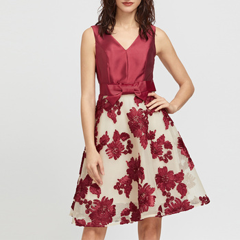 Burgundy Embroidery Flare New Design Normal Girl Party Wear