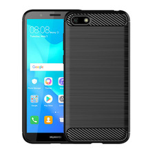 New style soft TPU carbon fibre drawing texture cell phone accessories cover case for Huawei Y5 Pro 2018